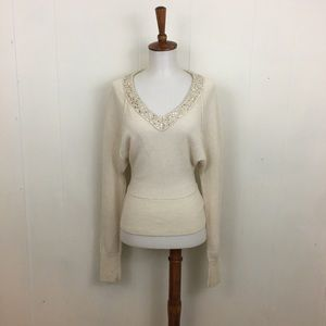 Free People Sequin V-Neck Long Sleeve Sweater